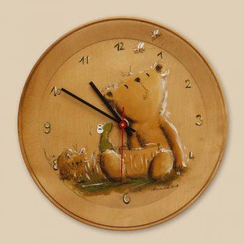 Bemalter Holzteller mit Uhrwerk